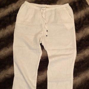 Beachy white linen pants